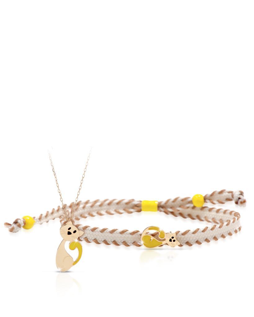 Collana e bracciale LeBebe Primegioie in oro giallo con gatto - LE BEBE