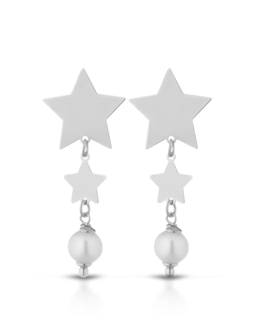 Orecchini pendenti con 2 stelle in argento satinato e 1 perla - LELUNE