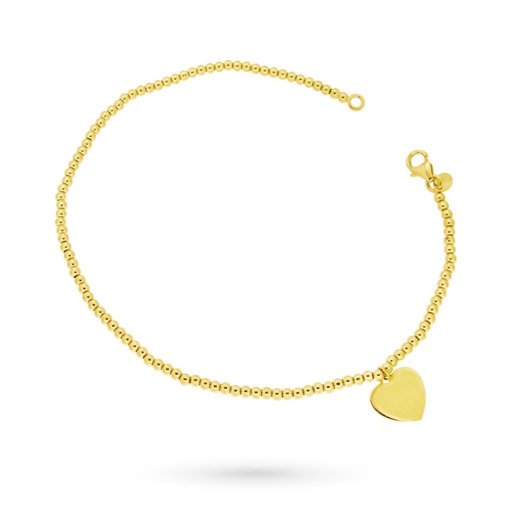 Bracciale con cuore e sferette in oro giallo 18kt - CICALA