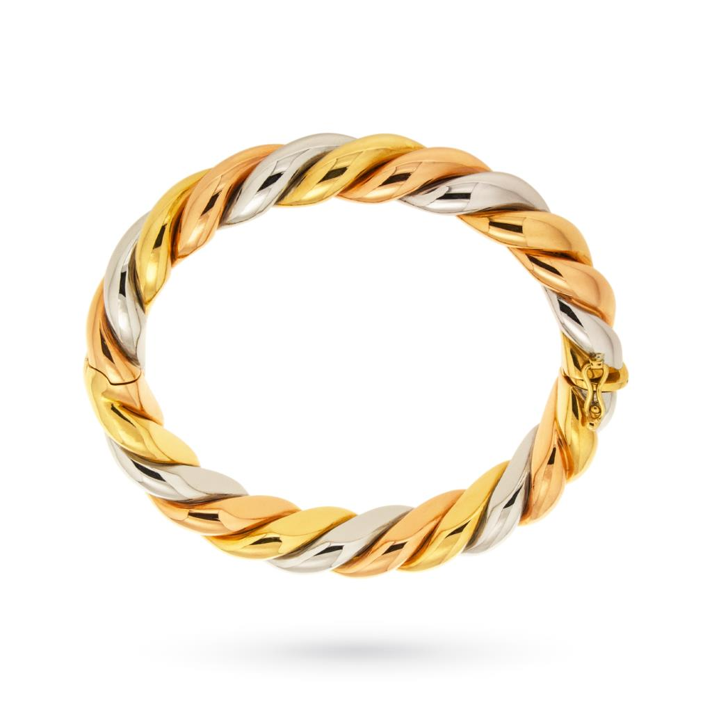 Bracciale rigido in oro giallo bianco e rosa intrecciato lucido - UNBRANDED