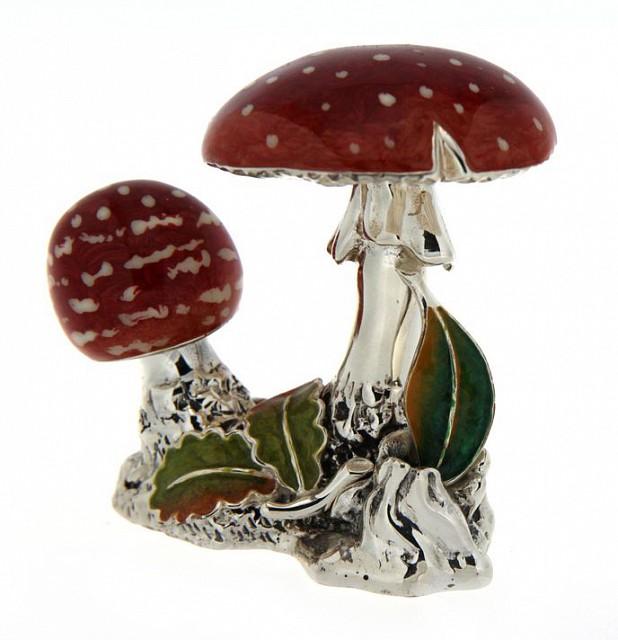 Funghi Amanita muscaria soprammobile in argento e smalto - SATURNO