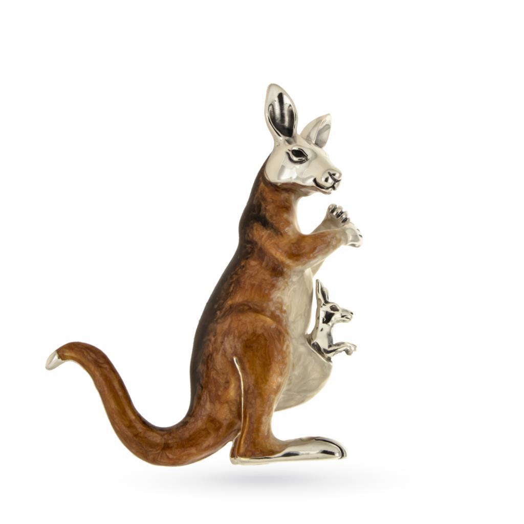 Canguro con cucciolo soprammobile in argento 925 - SATURNO