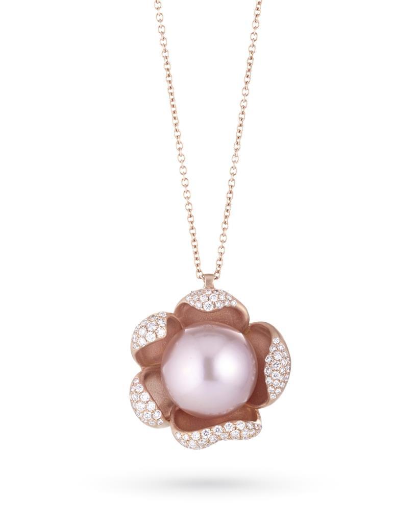 Girocollo con perla rosa in oro con diamanti - COSCIA