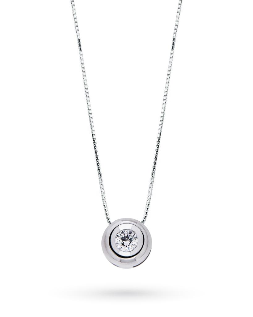 Girocollo punto luce rotondo con diamante taglio brillante 0,09ct G VS - CICALA