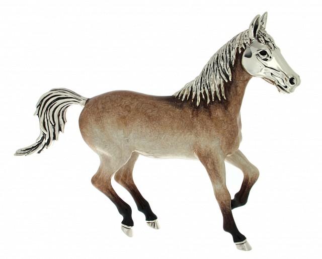Cavallo grande soprammobile in argento e smalto - SATURNO
