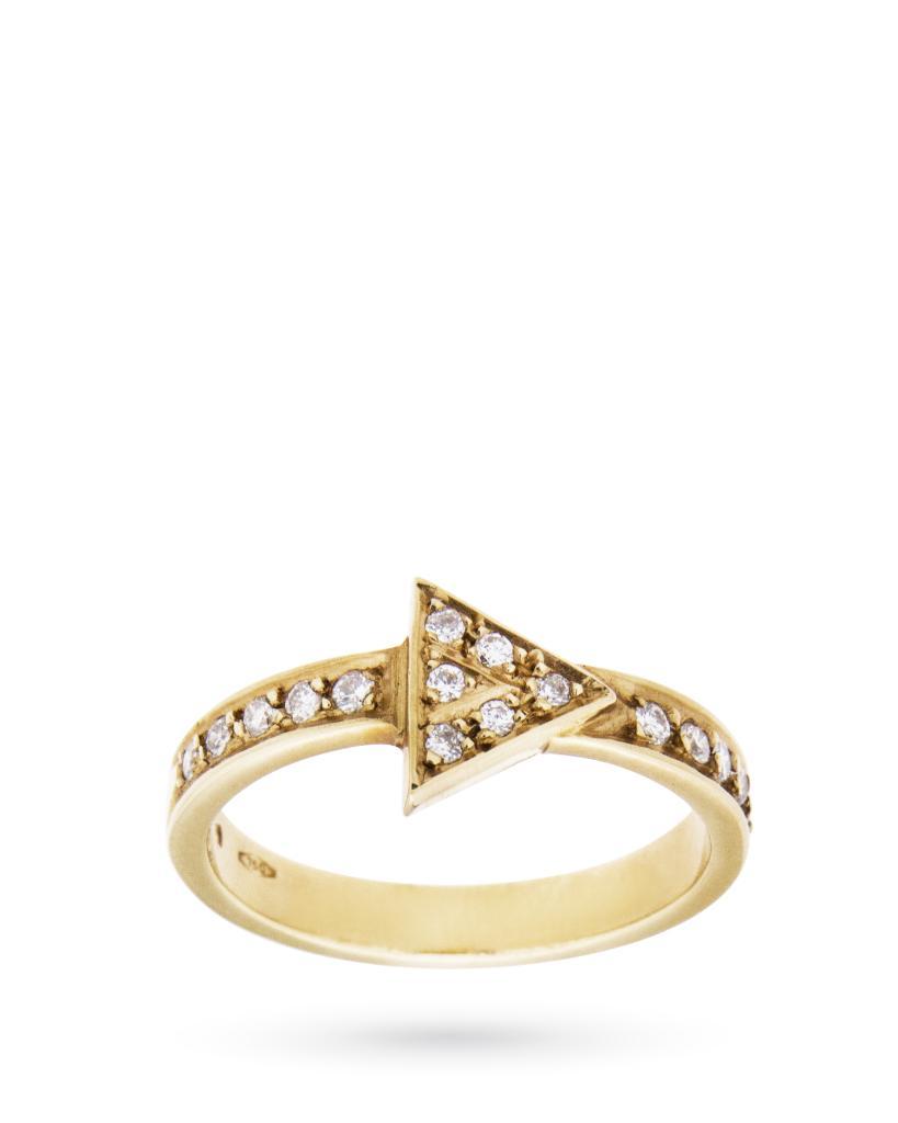 Anello in oro giallo con freccia e diamanti 0,28ct H VS - CICALA