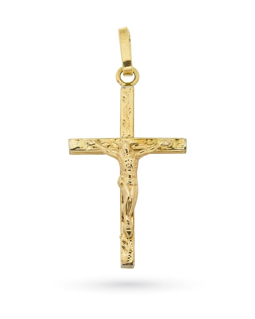Croce con Gesu crocifisso in oro giallo 18kt - UNBRANDED