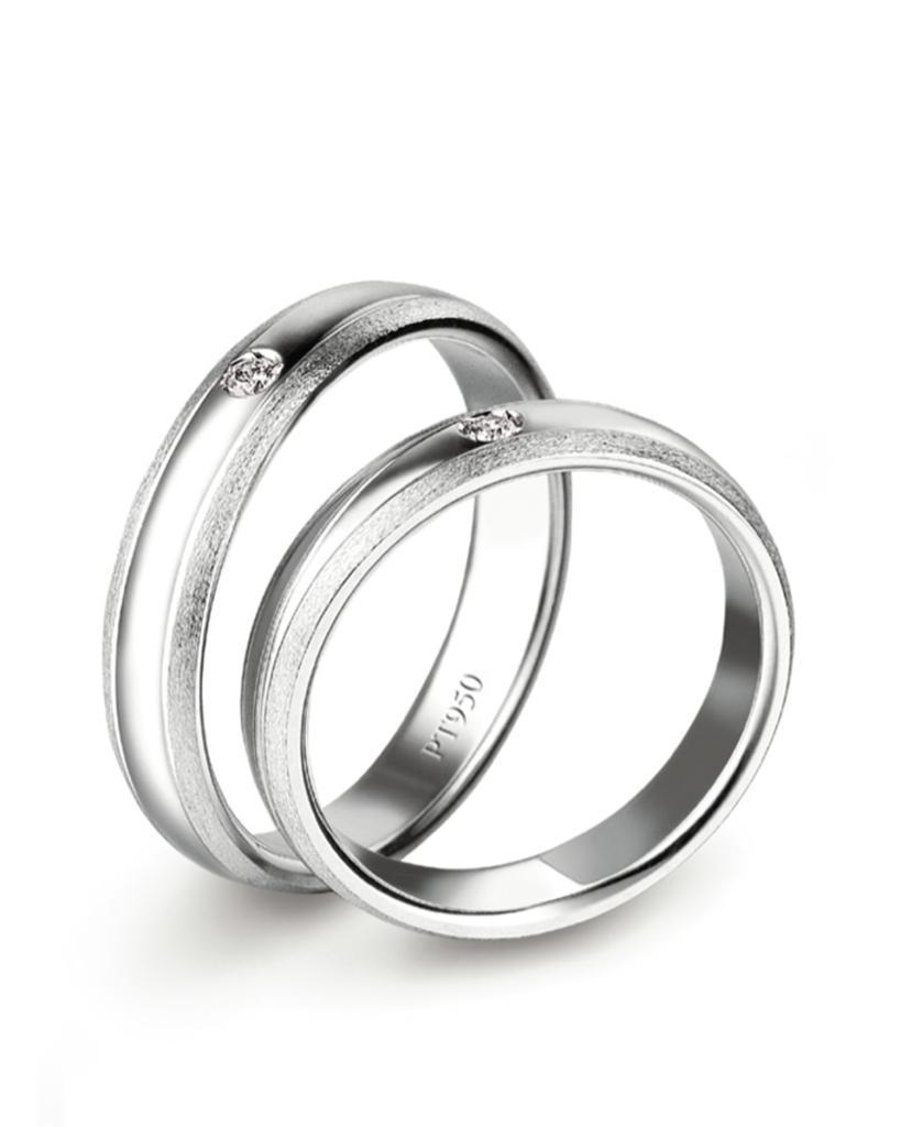 Fede nuziale in platino Lenval FPT107 lucida e satinata con diamante - LENVAL