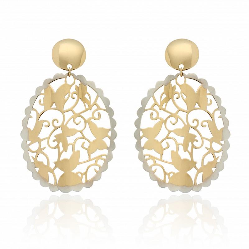 Orecchini pendenti in oro traforati con trama di farfalle - UNBRANDED