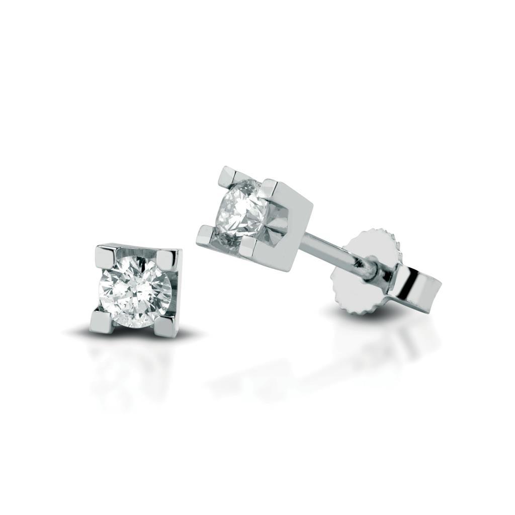 Orecchini a lobo quadrati oro bianco con diamanti 0,20ct - LELUNE DIAMONDS