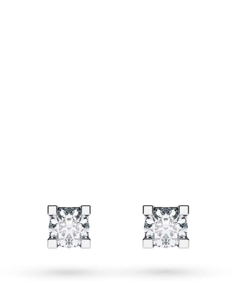 Orecchini a lobo 4 griff in oro bianco con diamanti ct 0,06 G VS - CICALA