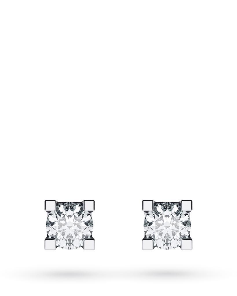 Orecchini a lobo 4 griff in oro bianco con diamanti ct 0,20 G VS - CICALA
