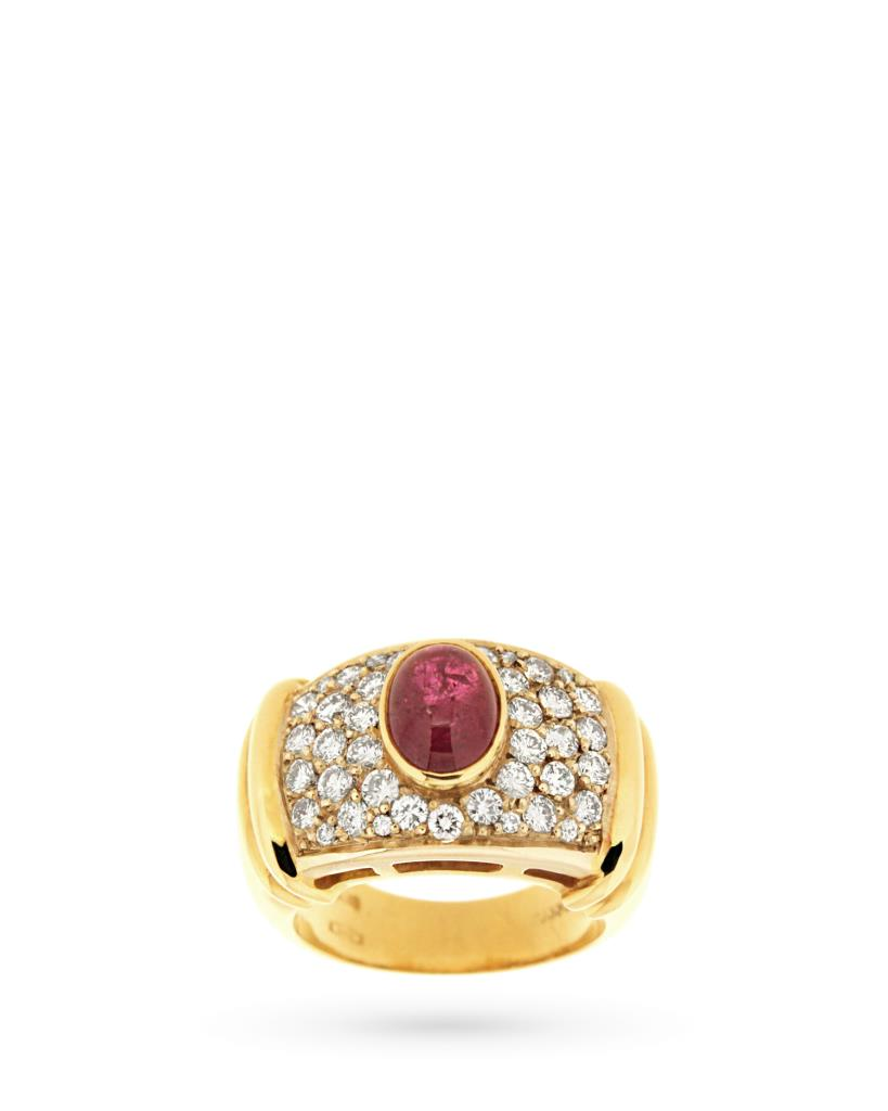 Anello in oro con rubino cabochon e diamanti - TORRINI