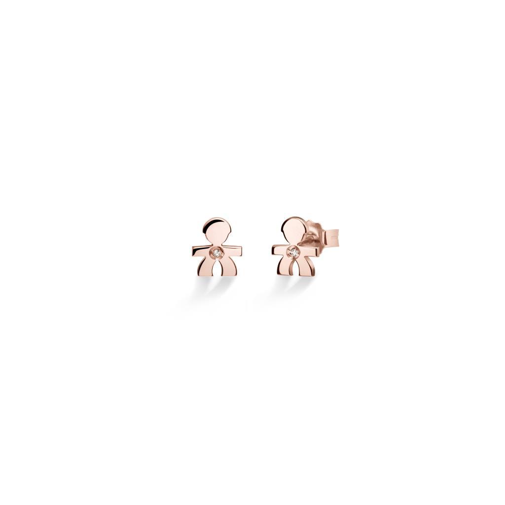 Orecchino singolo leBebe LBB329 Briciole bimbo in oro rosa con diamante - LE BEBE