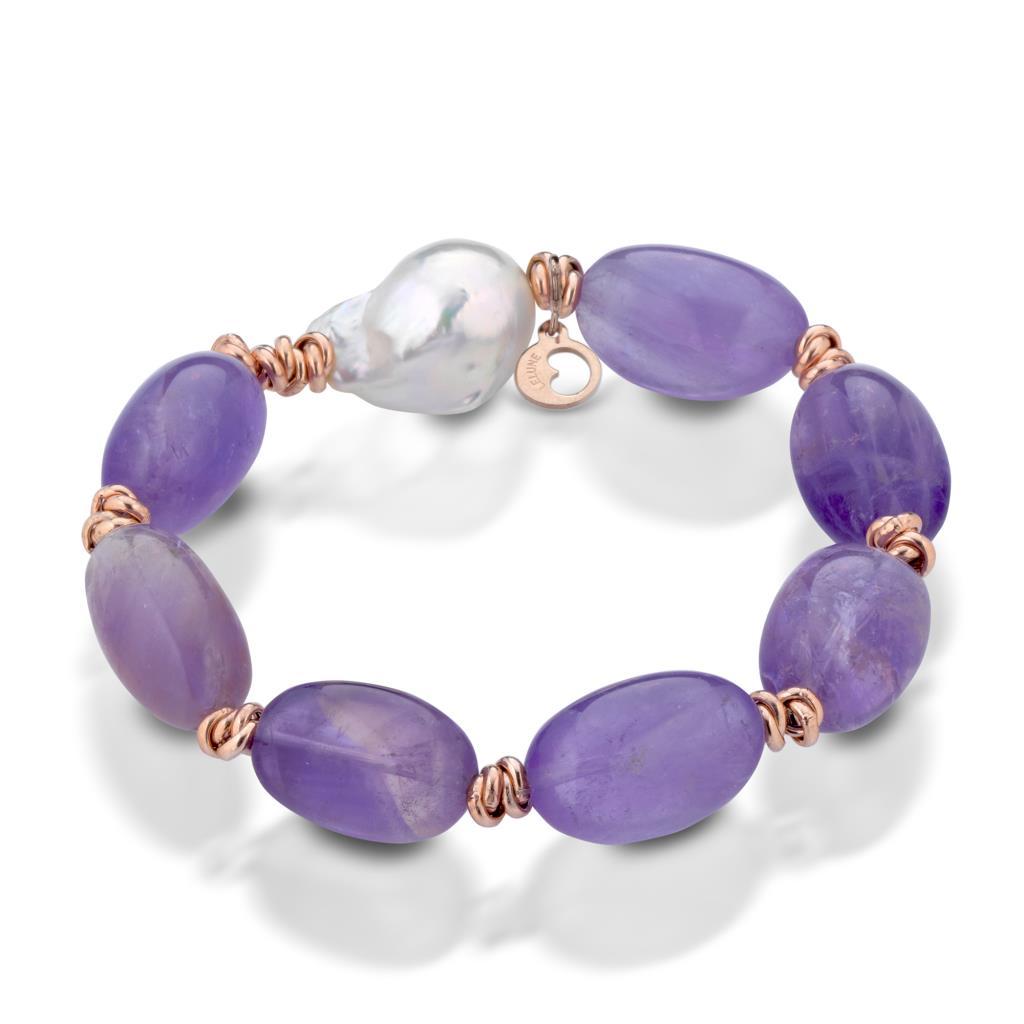 Bracciale con ametrino, perla e argento rosa - LELUNE