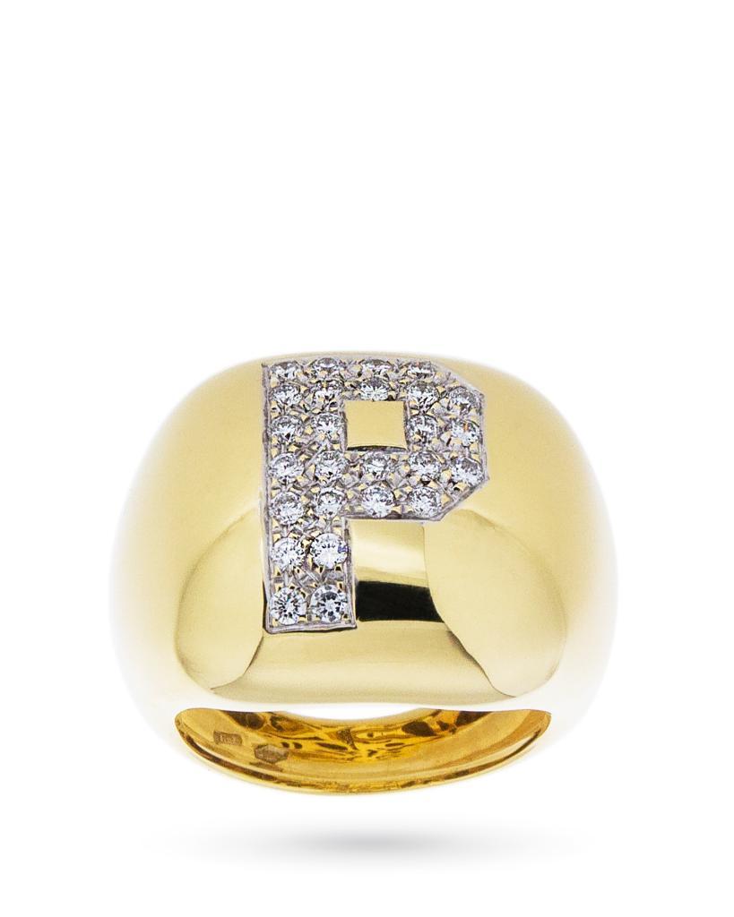 Anello in oro con iniziale P in diamanti 0,52ct - UNBRANDED