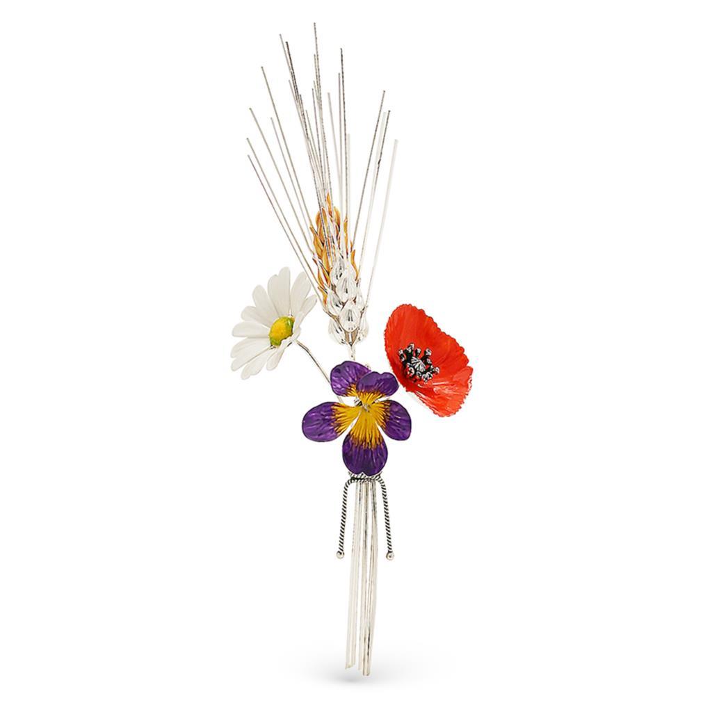 Mazzolino di fiori da campo soprammobile in argento e smalto 16,5cm - GI.RO'ART