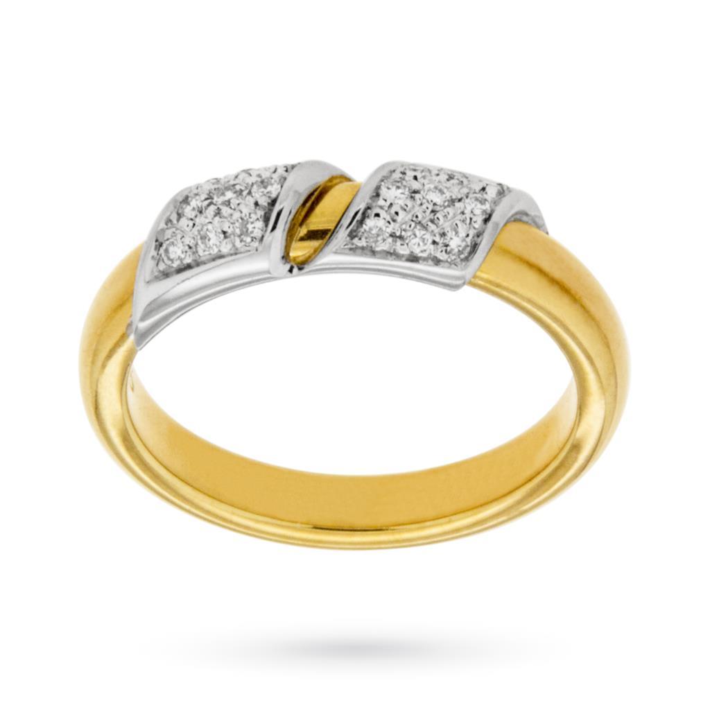 Fedina in oro giallo con inserti in oro bianco e brillanti - CICALA