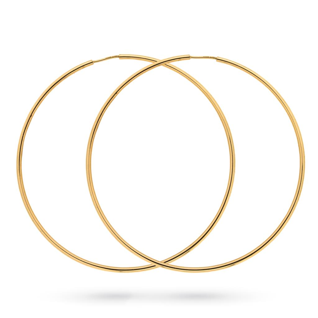 Orecchini a cerchio in oro giallo 18kt a canna liscia sottile Ø 6cm - CICALA