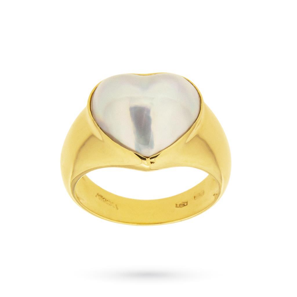 Anello fascia in oro con cuore mabè - MIKAWA