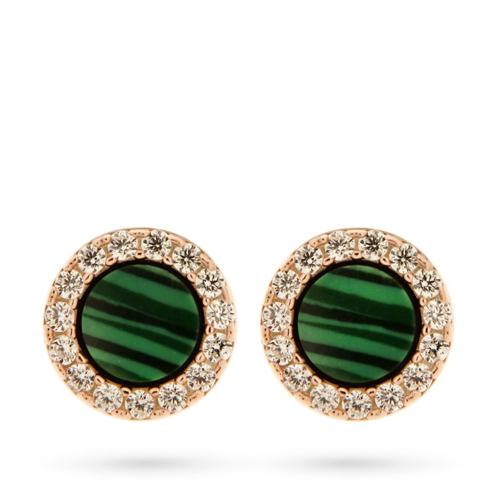 925 sterling silver stud earrings with malachite and zircons  - CICALA