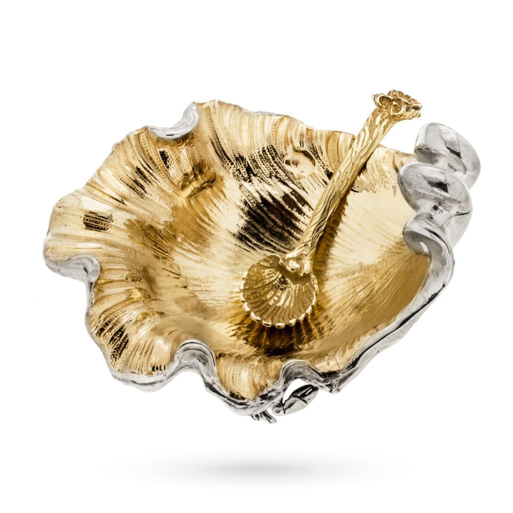 Saliera in argento Ostrica con interno dorato - CASSETTI