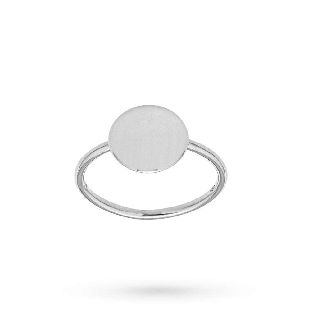 Anello con disco centrale lucido in oro bianco 18kt - CICALA