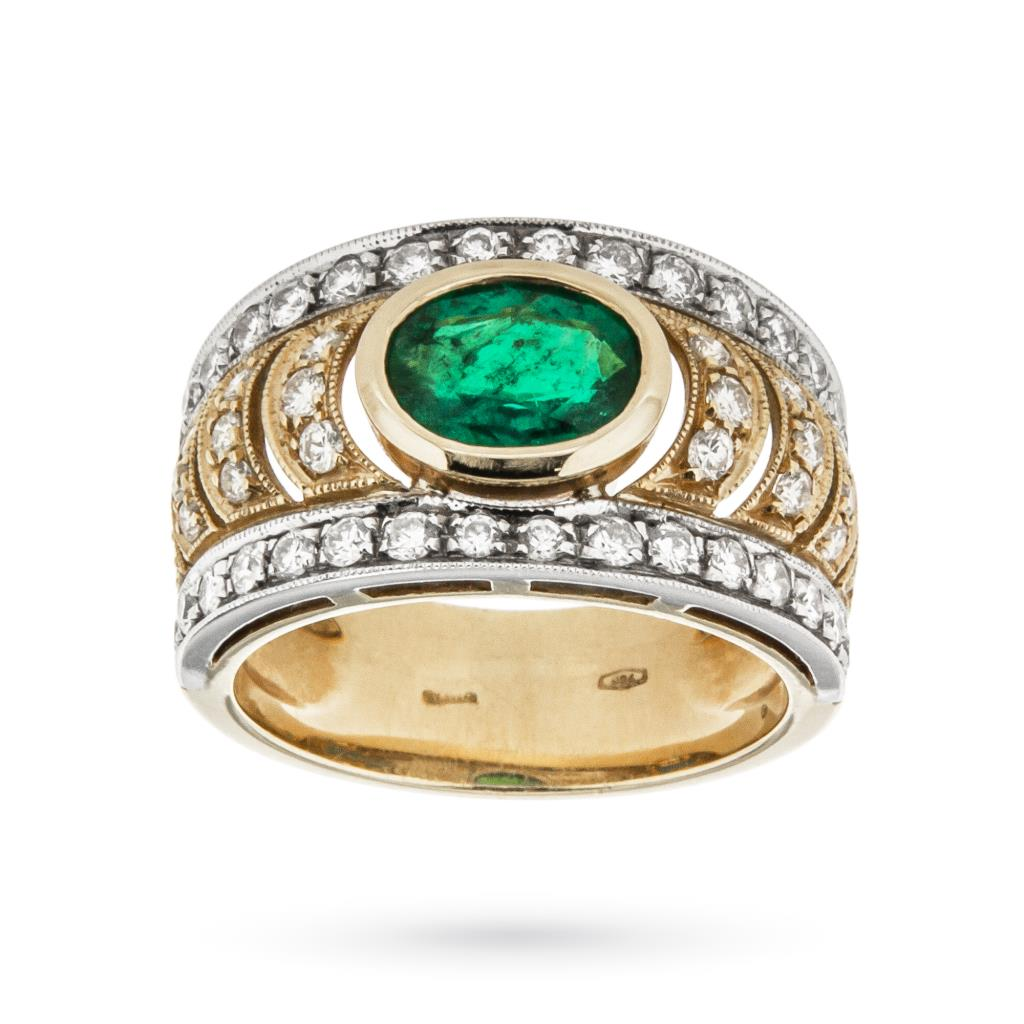 18kt yellow and white gold band ring with emerald and diamonds - CICALA
