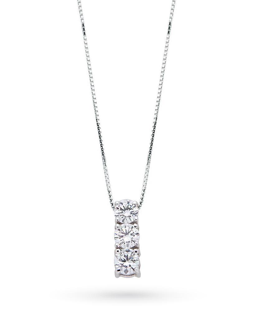 Girocollo trilogy in oro bianco con diamanti 0,35ct D VS - CICALA