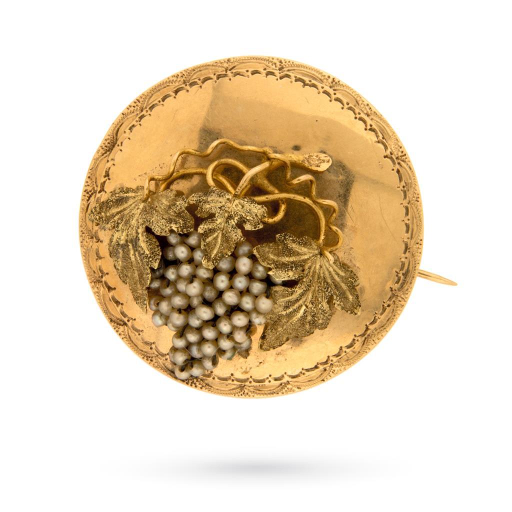Spilla vintage in oro con grappolo d'uva e perline - UNBRANDED