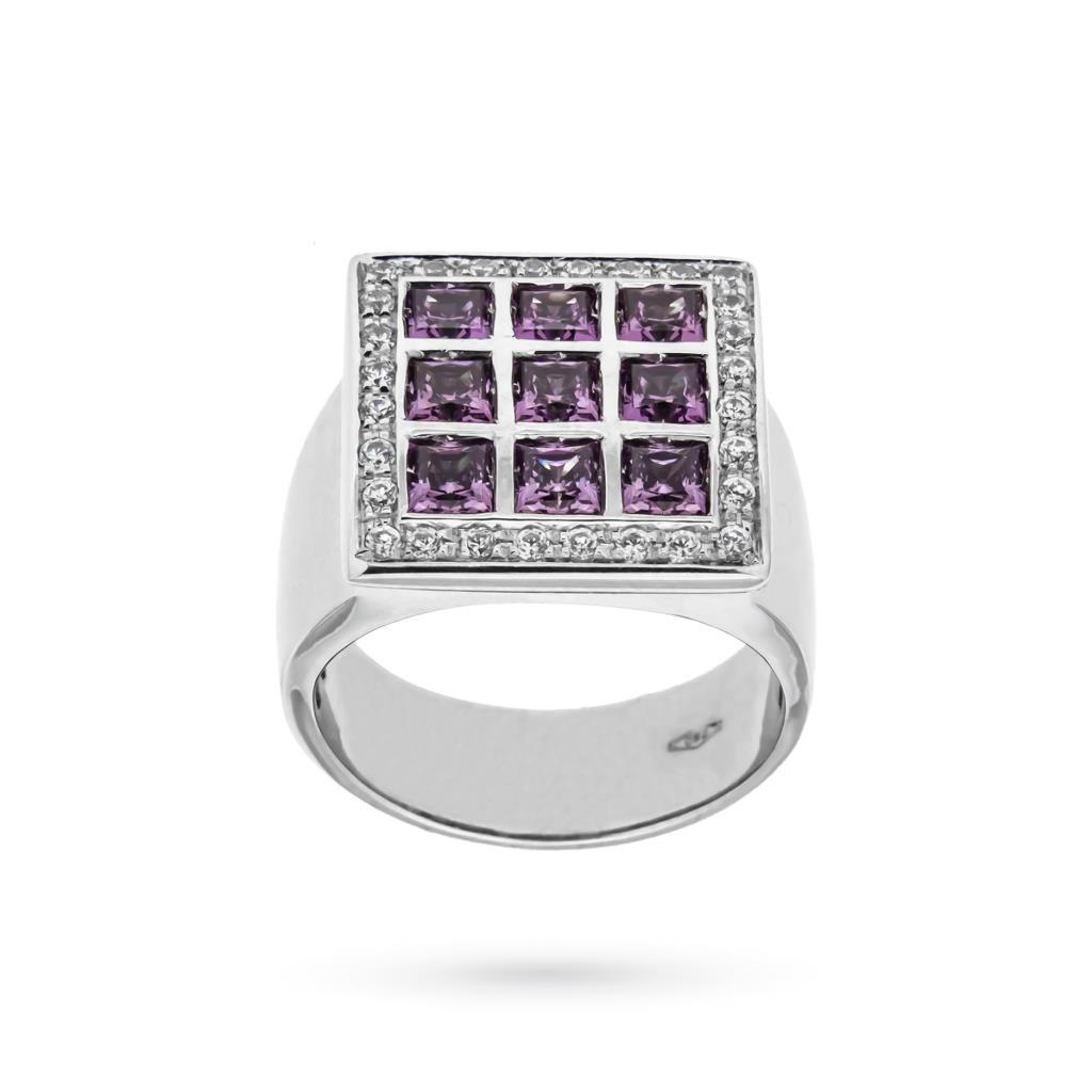 Anello quadrato a fascia con ametiste e diamanti - UNBRANDED