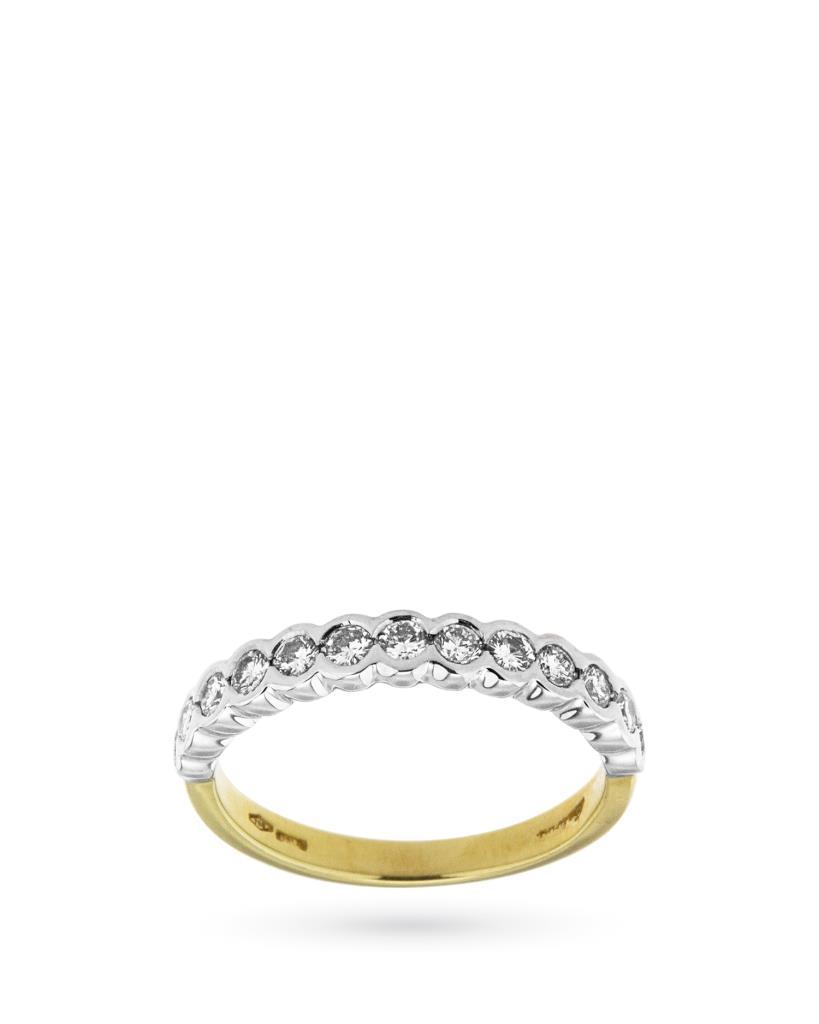 Anello riviere di diamanti in oro bianco e giallo - SALVINI