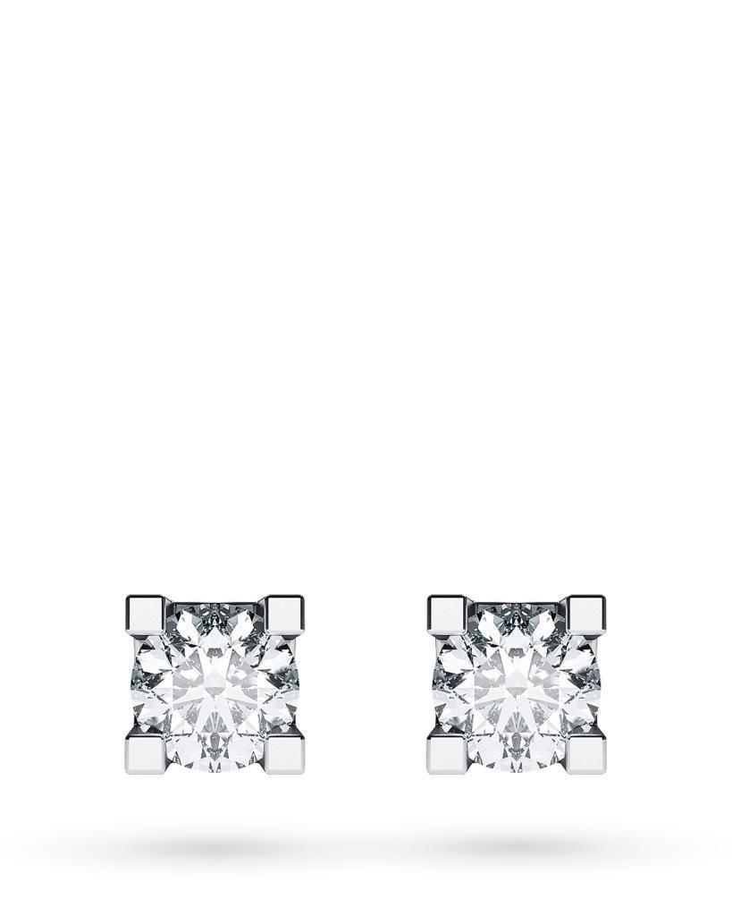 Orecchini a lobo 4 griff in oro bianco con diamanti ct 0,35 D VS - CICALA