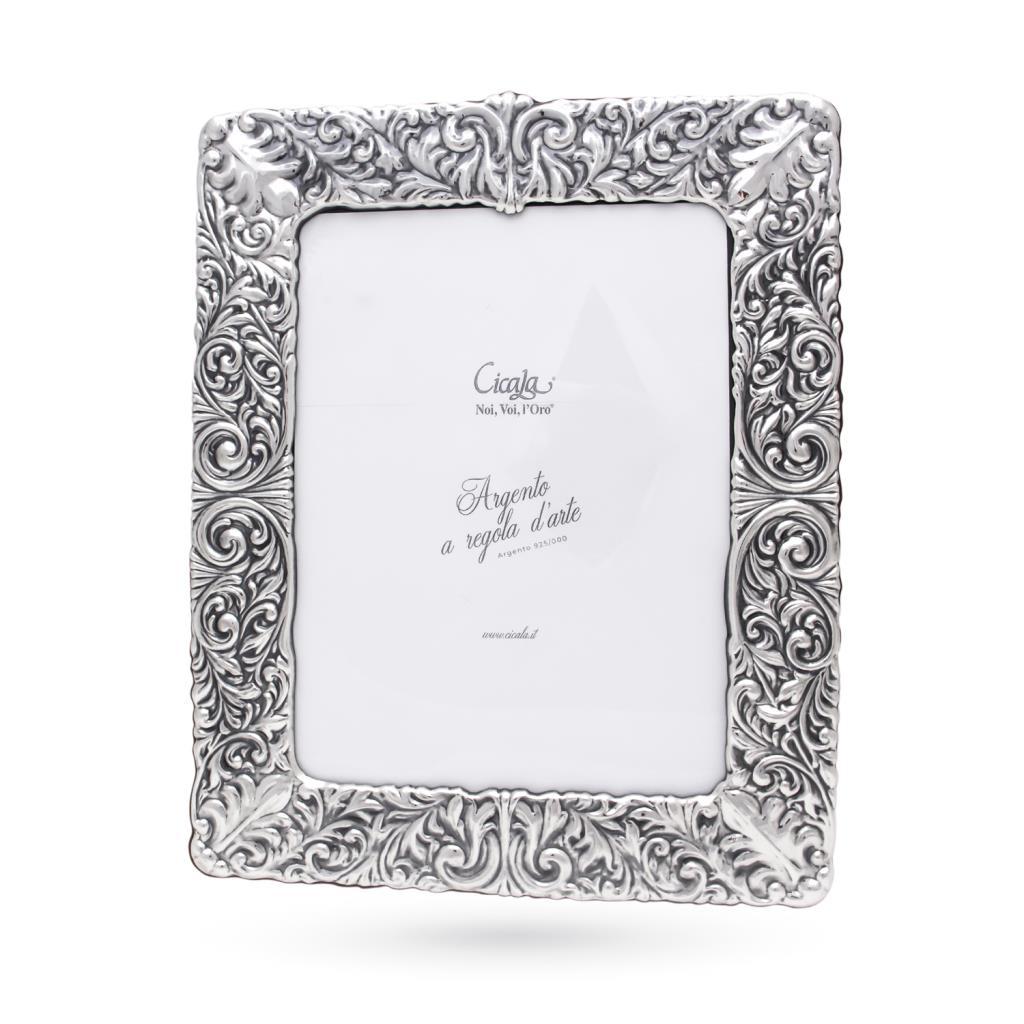 Silver photo frame 18x24 cm floral decoration - CICALA