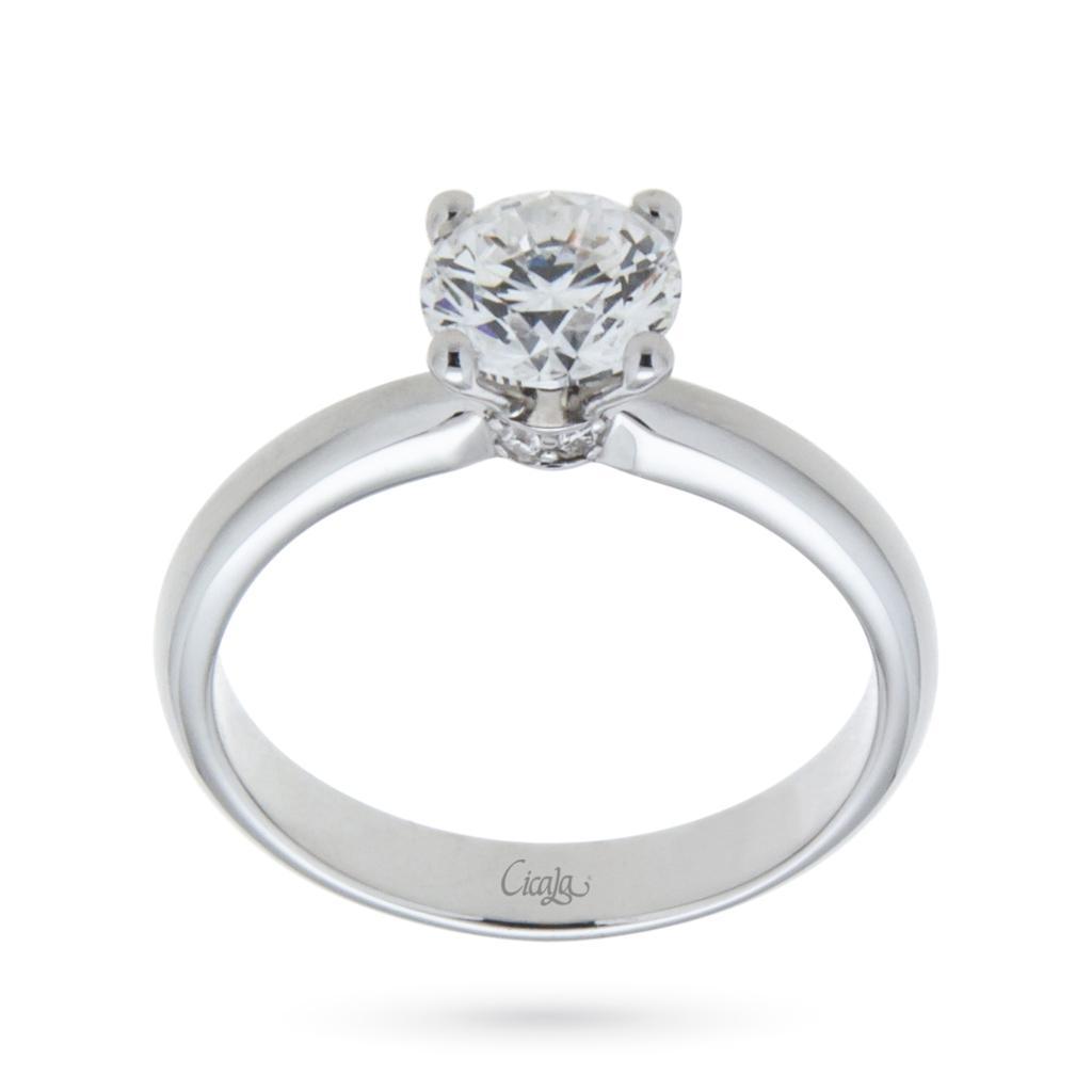 Anello di fidanzamento Elune con diamante 0,90ct D VS - CICALA