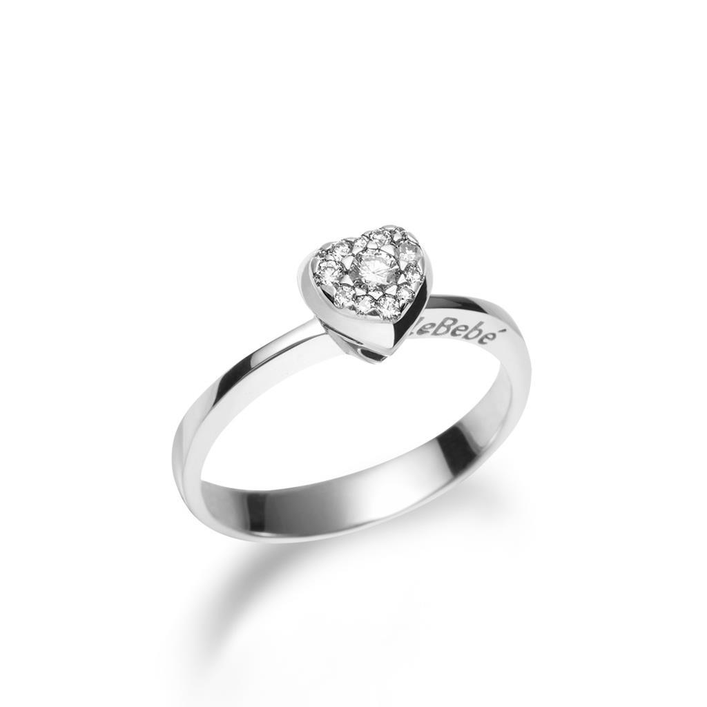 Anello solitario leBebe LBB115 oro bianco bimbo con diamanti - LE BEBE
