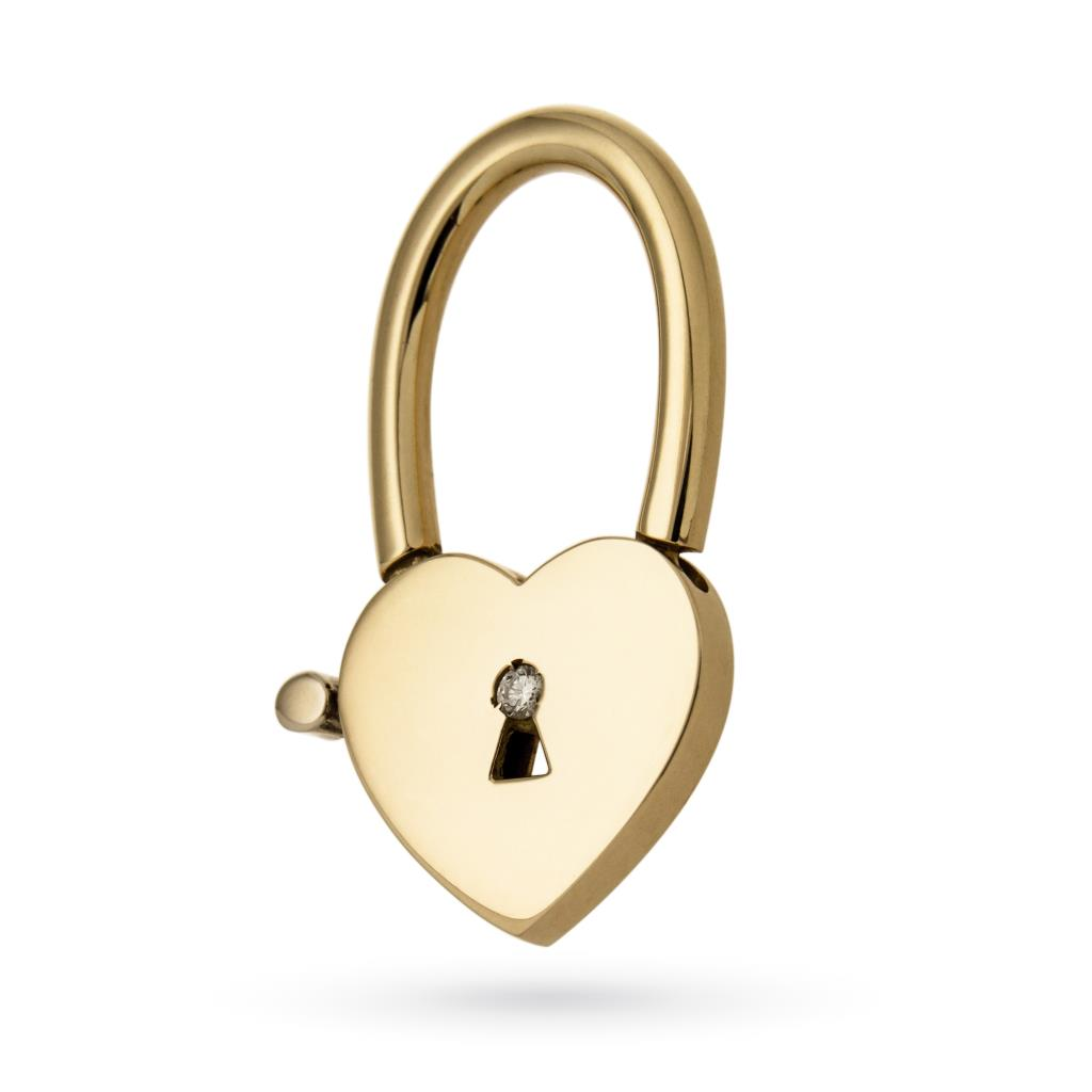 Portachiavi in oro a forma di cuore con diamante - MAXART