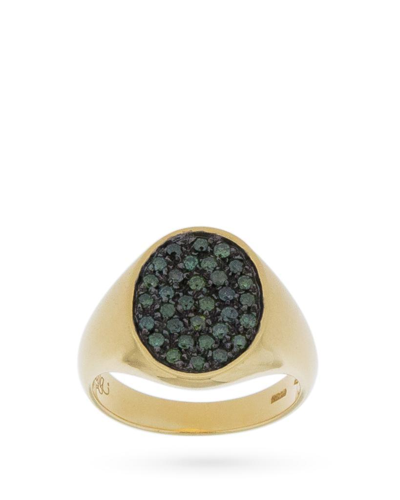 Anello chevalier ovale in oro giallo con diamanti verdi 0,33ct - ORO TREND