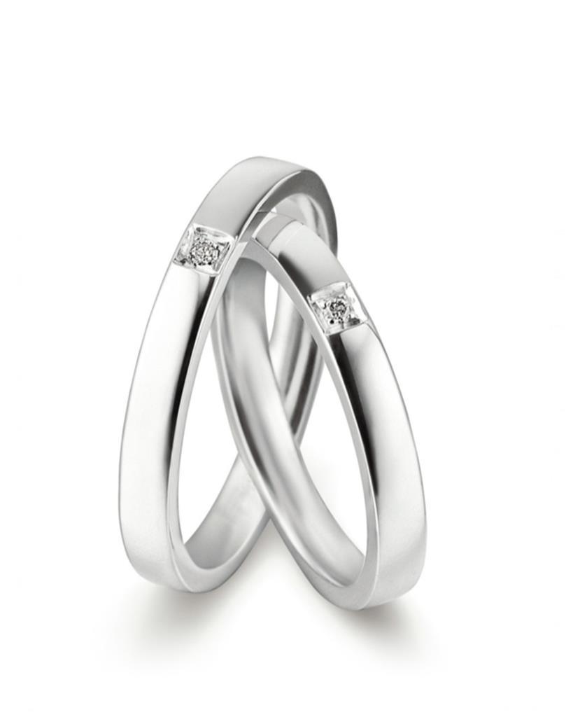 Fede nuziale in platino Lenval FPT109 lucida con diamante - LENVAL