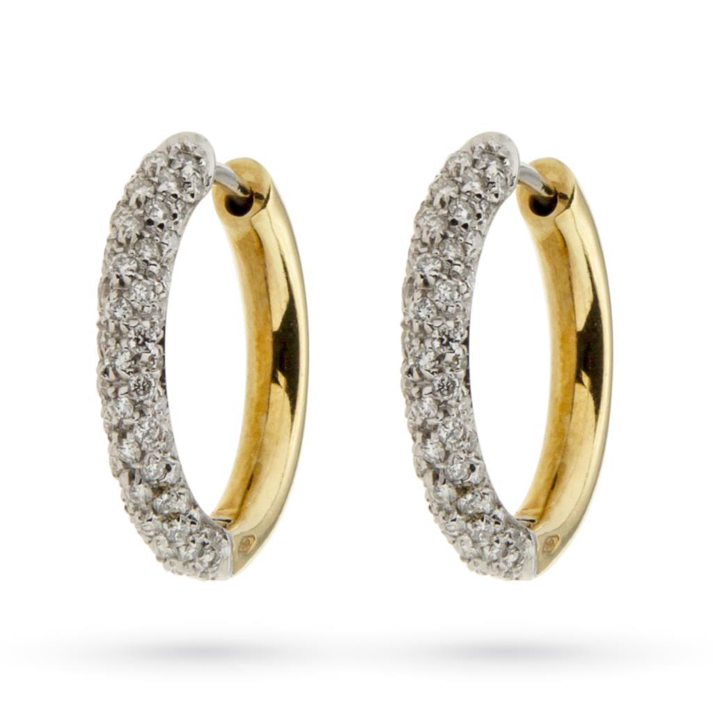 Orecchni a cerchio in oro bianco e giallo con diamanti Ø1,8cm - GIORGIO VISCONTI