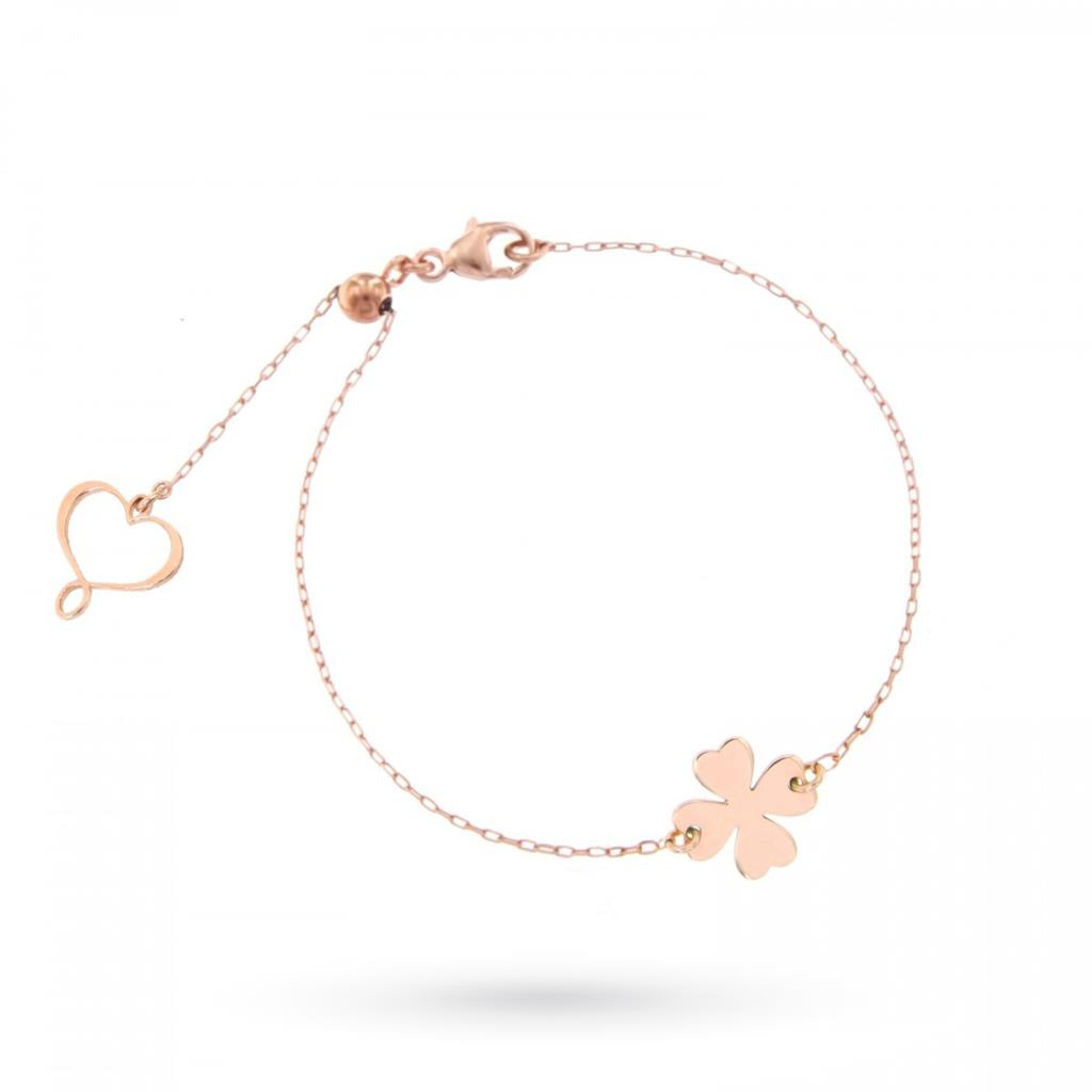 Bracciale con quadrifoglio lastra lucida in argento 925 placcato oro rosa - MAMAN ET SOPHIE
