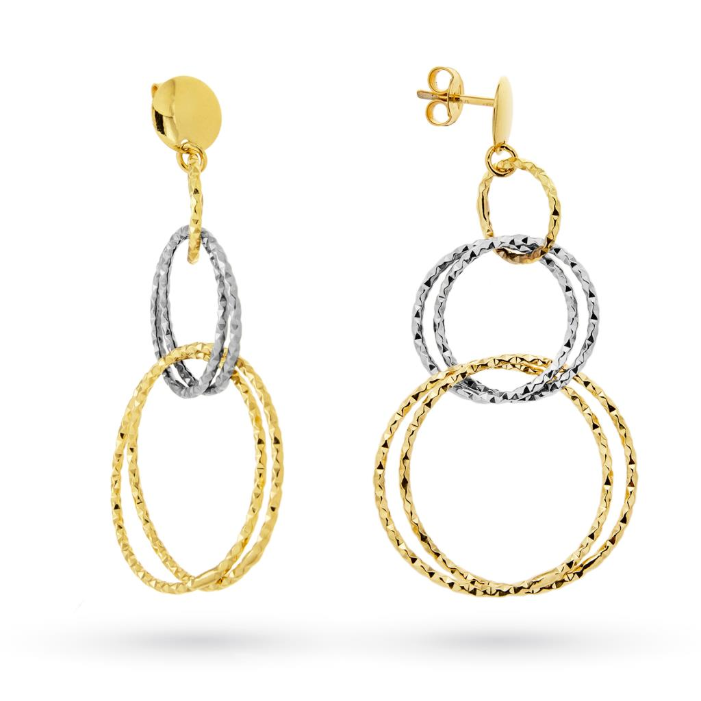 18kt white and yellow gold earrings with linked circles - CICALA