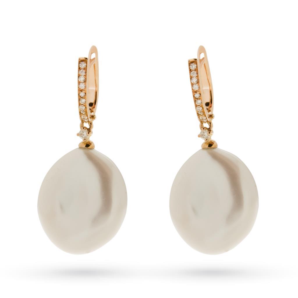 Orecchini con perla barocca e brillanti in oro rosa 18kt - COSCIA