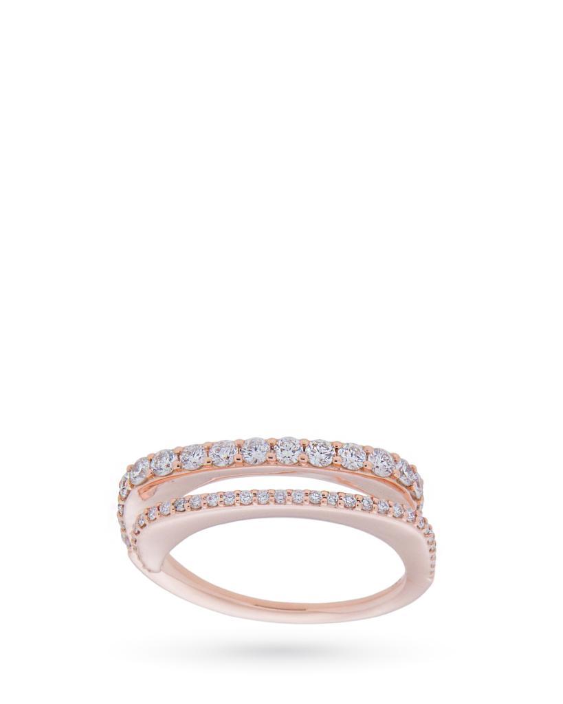 Anello riviere doppia in oro rosa con diamanti - CICALA