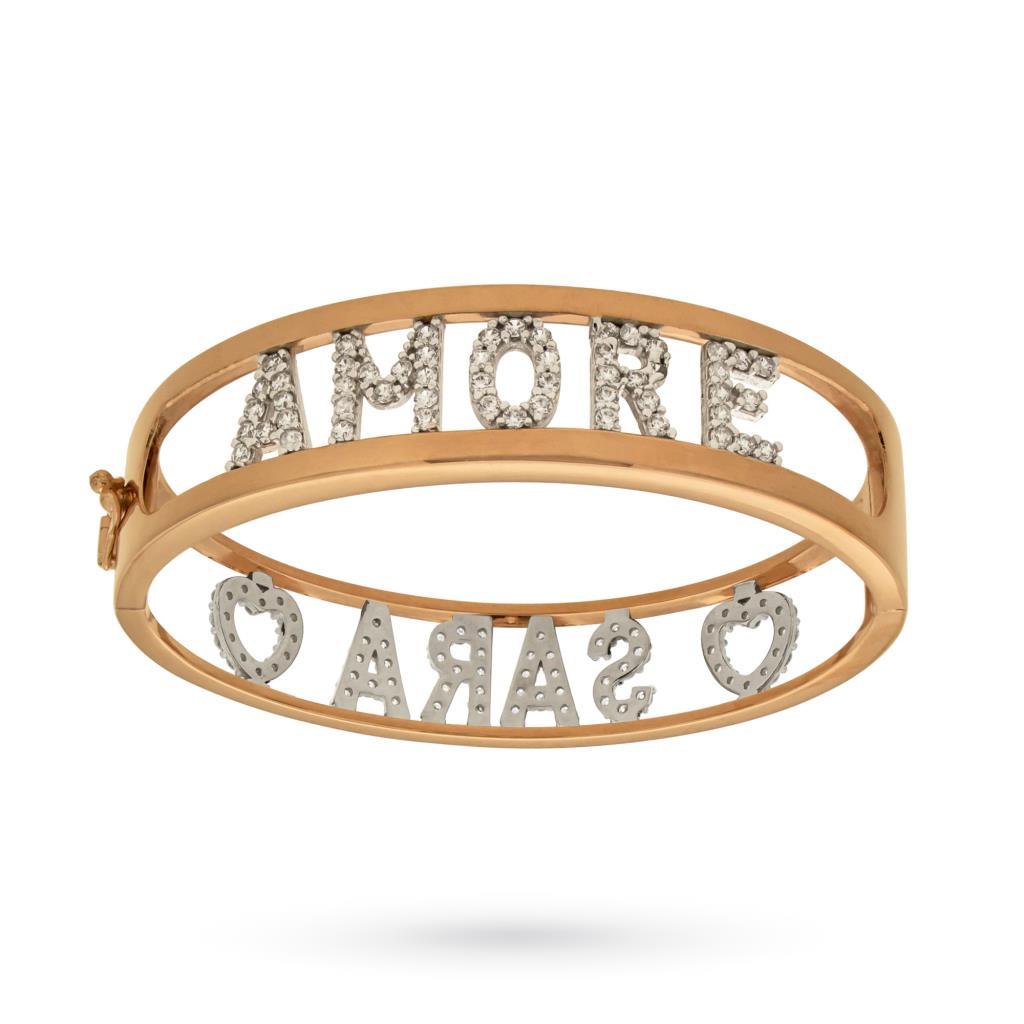 925 sterling silver bangle bracelet with 2 names and 18kt rose gold plating - CICALA