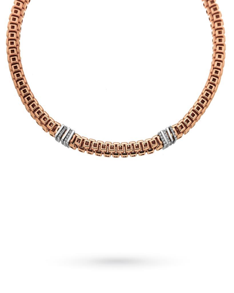 Collana FOPE in oro rosa con inserti in oro bianco e diamanti - FOPE
