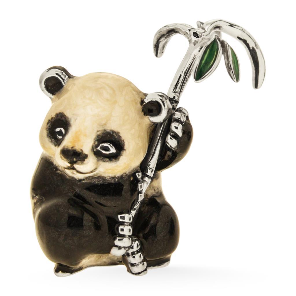 Panda piccolo seduto nero bianco con foglie bambù verdi sopramamobile in argento e smalto - SATURNO