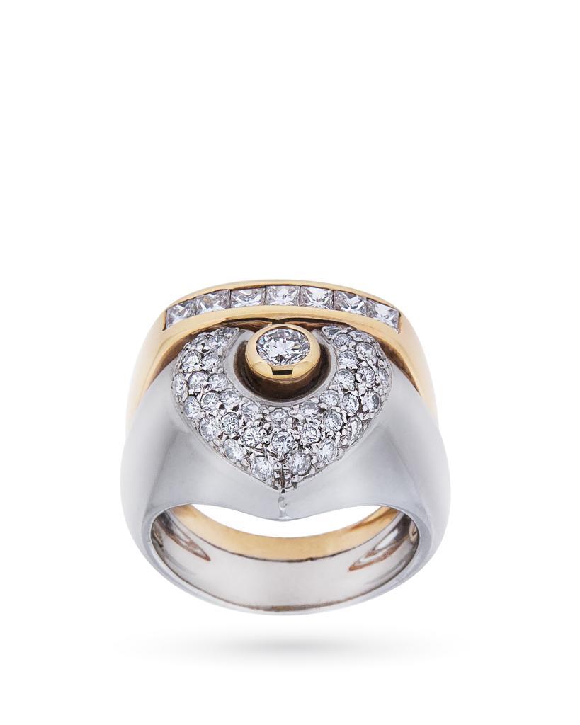 Anello in oro bianco e giallo con diamanti 1,47ct H VS - LA NOUVELLE BAGUE