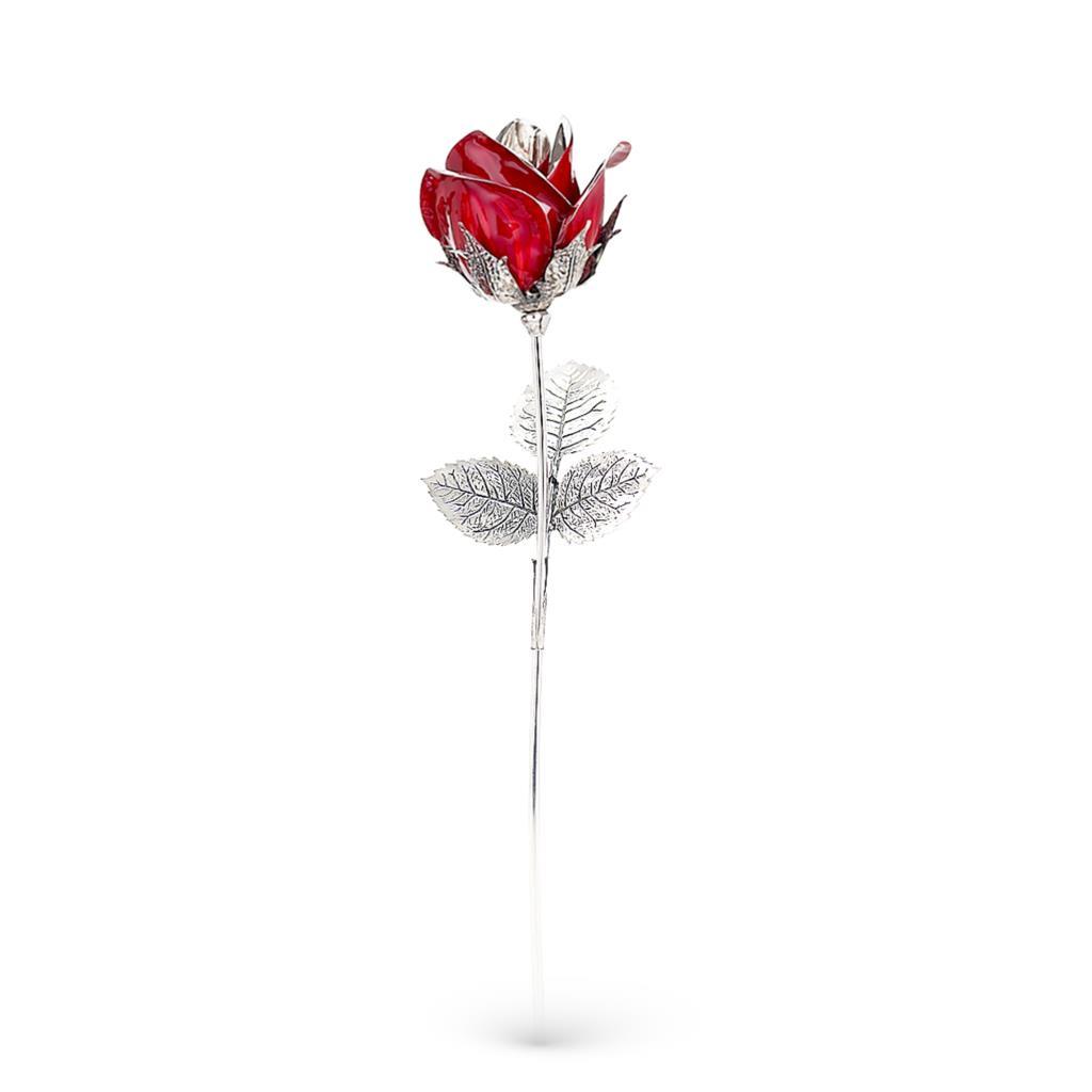 Rosa rossa soprammobile in argento e smalto 36cm - GI.RO'ART