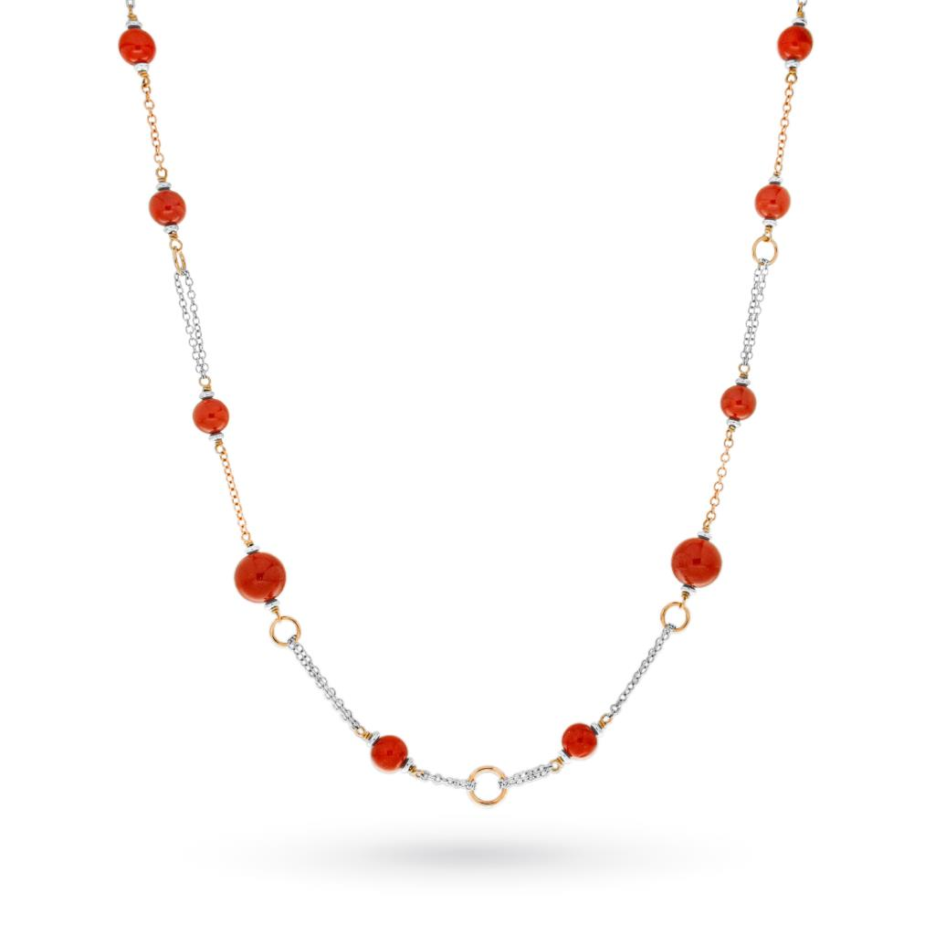 Necklace with red coral in 18kt gold - CICALA